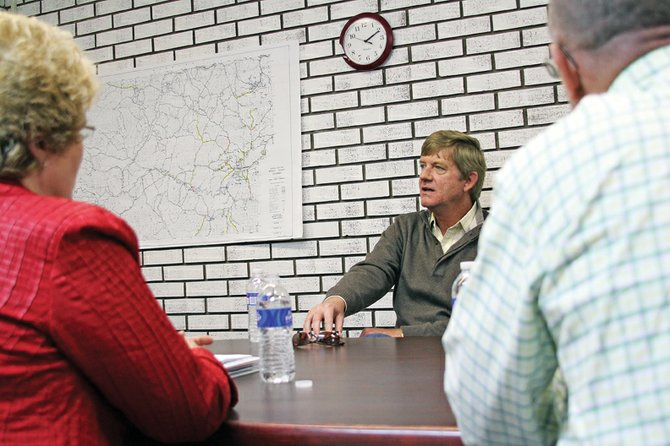 Republican Congressman-elect Scott Tipton speaks Tuesday to the Moffat County Commission. Tipton said he would lean on local governments like the commission for advice and guidance during his tenure replacing Democrat John Salazar as the representative for the state's Third Congressional District.
