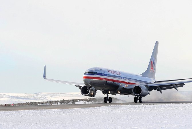 An American Airlines jet from Chicago lands at Yampa Valley Regional Airport in December 2009. The 25th season of the Fly Steamboat winter air service program begins today.