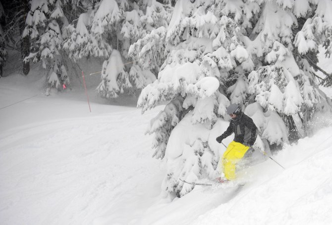 A skier comes down North St. Pat's on Tuesday at Steamboat Ski Area. The ski area has received 160 inches of snow for the 2010-11 season.