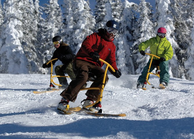Steamboat Ski Area requires all snowbike users to take a lesson. The cost is $45 for a one-hour lesson and half-day rental.