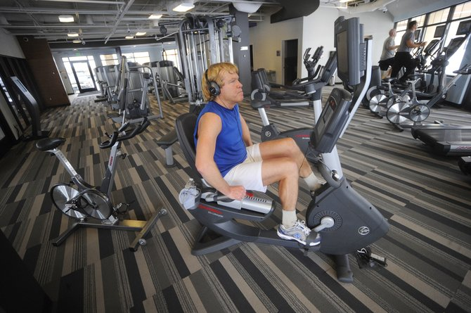 Steamboat Springs resident Titan Roberts works out Thursday at Steamboat's newest gym, Anytime Fitness in Central Park Plaza.
