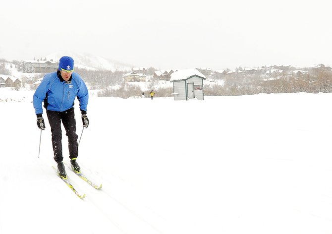 Steamboat Ski Touring Center ski instructor Antonio Marxuach glides on a trail in Steamboat Springs on Thursday while giving a classic-style lesson. The center will play host to 20 to 25 three-person cross-country skiing teams Sunday for the New Year's Relay event.