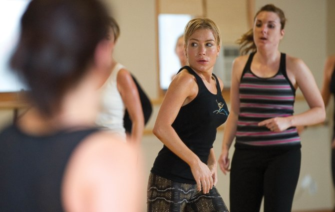 Tracy Anderson, who trains Madonna and Gwyneth Paltrow, leads a workout at Elevation Dance Studio on Wednesday morning.
