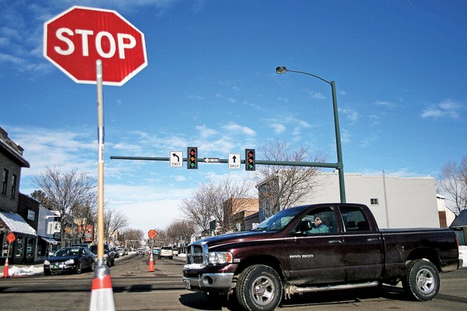 Traffic lights were out Thursday at the intersection of Victory Way and Yampa Avenue, among other places, during a power outage in Craig. City workers put out temporary stop signs at intersections until power was restored.
