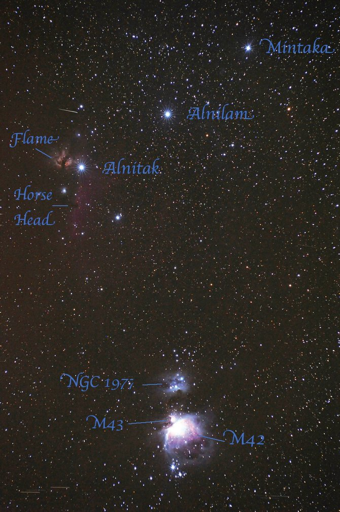 The three stars marking Orions Belt, Alnilam, Alnitak and Mintaka, are visible high in the southern sky at about 9 p.m. in January. Look at the middle star in Orions sword, just below his belt, to find the Great Orion Nebula. 