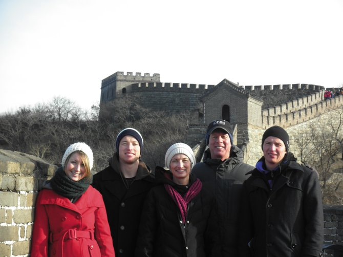 Steamboat Springs City Manager Jon Roberts, second from right, and his wife, LeAnn Roberts, center, stand with their three children on the Great Wall of China on Dec. 25. Doctors expect Jon Roberts to make a full recovery from a Jan. 2 ski accident that, LeAnn Roberts said, is making the family realize the full value of time spent together.