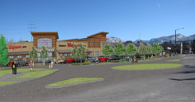 The Steamboat Springs Planning Commission on Thursday tabled plans for a Walgreens. This is the view of the proposed store from Staples.