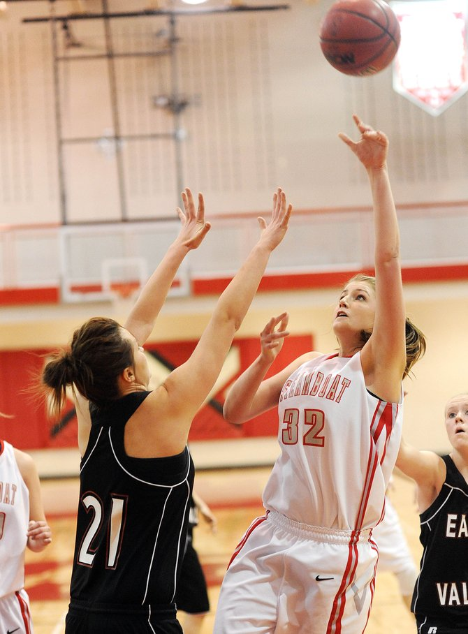 Steamboat's Tara Spitellie lofts a shot over the Eagle Valley defense Saturday as the Sailors improved their record to 7-6 with a 54-35 victory.