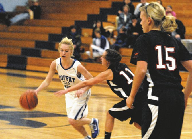 The Moffat County High School girls varsity basketball team snapped their two-game losing streak Friday night with a victory over Eagle Valley High School, 43-31. The Bulldogs play Battle Mountain today at home, hoping to start a new streak and build team confidence.