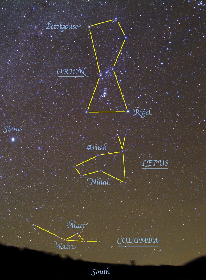 Beneath the feet of Orion you can locate two additional constellations during winter — Lepus the rabbit, and Columba the dove. Look due south at about 10 p.m. this week or at about 9 p.m. later in the month.