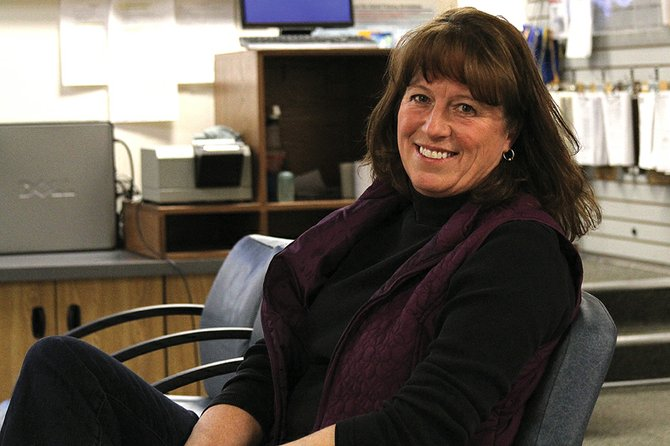 Moffat County Undersheriff Charlene Abdella is shown inside an administrative area in the Moffat County Jail. Abdella, who was named the county's first female undersheriff by Sheriff Tim Jantz in 2007, started her law enforcement career as a dispatcher in 1989 and later became a patrol officer for the Craig Police Department before ascending to the undersheriff position.