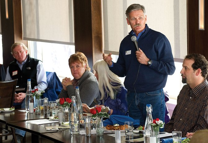 Al White, director of the Colorado Tourism Office, speaks at Mainstreet Steamboat Springs' annual meeting Friday at Sweetwater Grill.