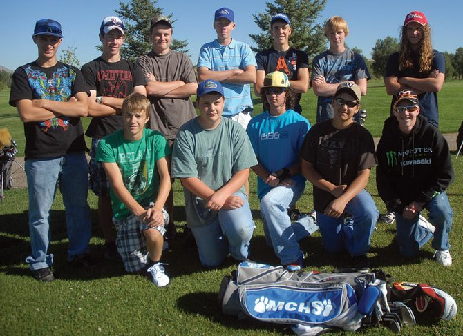 The Moffat County High School boys varsity golf team is seeking to send as many golfers to state this season as it can, which would break the team's streak of having no state qualifiers for more than a decade. The team is, back row from left, Ethan O'Mailia, Parker King, Trey Jourgensen, Colby Haddan, Mark Dockstader, Zach Ahlmer and Colter Tegtman. In the front row, from left, is Taft Cleverly, Wes Whiffen, Eli Voyich, Brady Martinez and Kyler Willbanks.