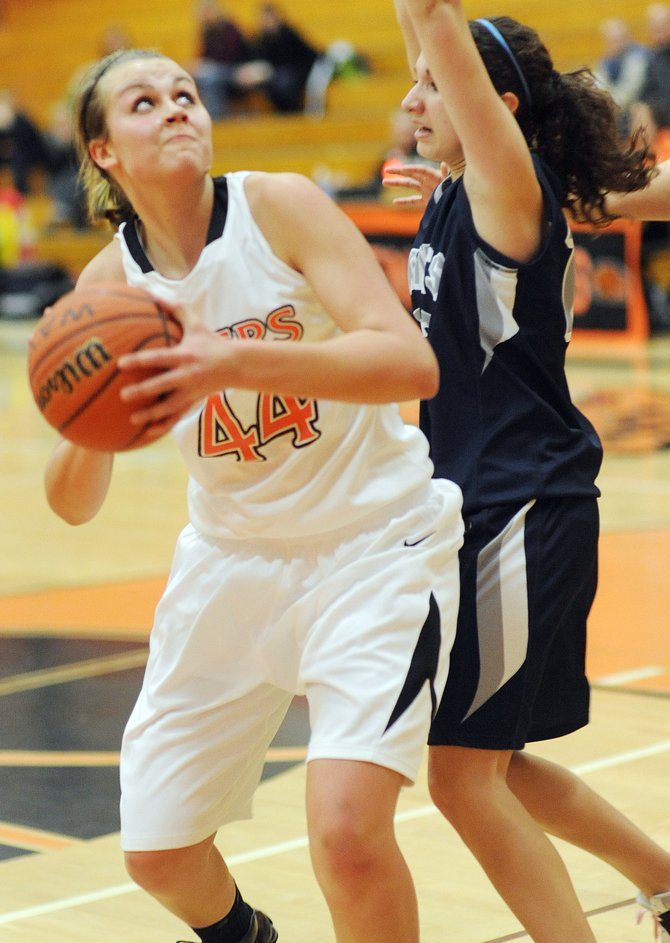 Hayden's Erin Koehler looks for a shot Saturday against Vail Christian. She had little trouble finding them against the Saints as she unloaded for 28 in what her coach called the best game of her career. Hayden won, 57-34.