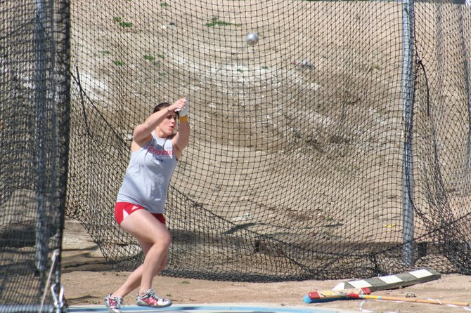 Holli Salazar, a 2009 Hayden graduate, throws the hammer for Colorado State University-Pueblo. Salazar, a sophomore, holds the indoor shot put and weight school records as well as the outdoor hammer throw record.