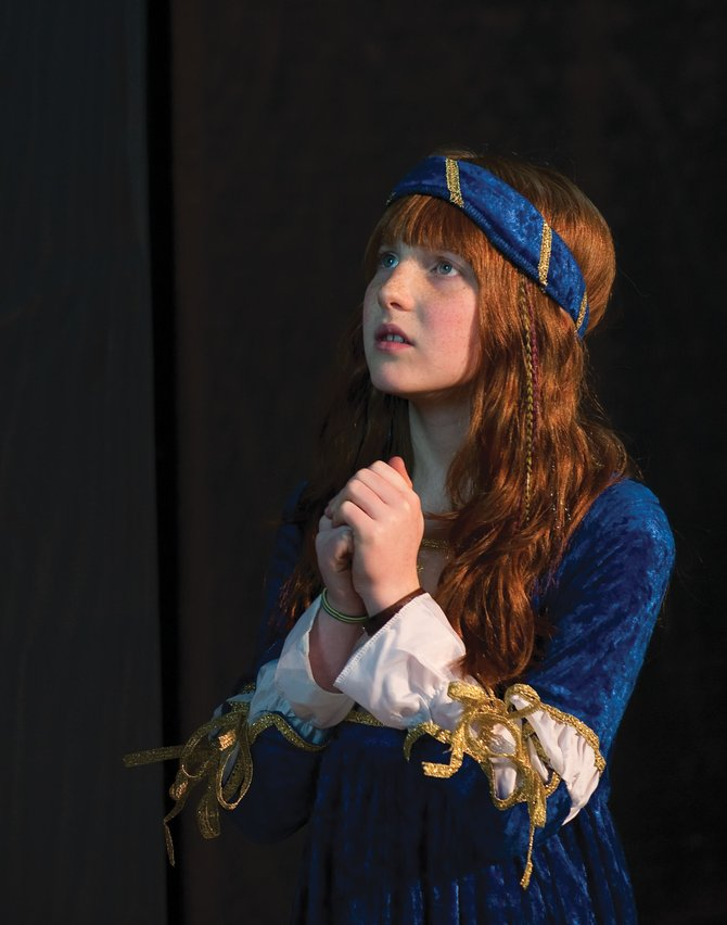 "Nicole Zedeck plays Juliet during a rehearsal for the Lowell Whiteman Primary School's production of William Shakespeare's ""Romeo and Juliet."""