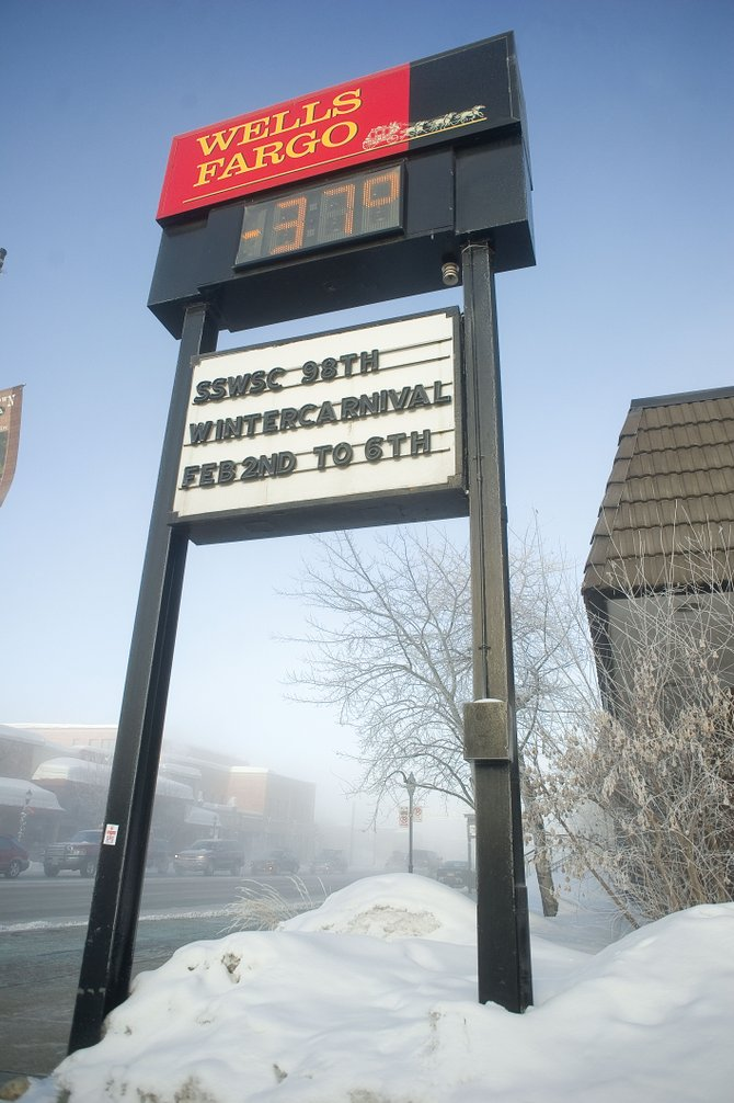 Temperatures in Steamboat Springs reached as low as minus 40 degrees this morning. It had warmed slightly at Wells Fargo bank in downtown Steamboat by mid-morning.