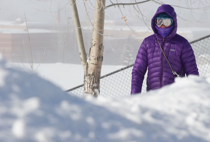 Steamboat Springs resident Wendy Tomlinson didn't let Wednesday's cold weather stop her from walking her dog.