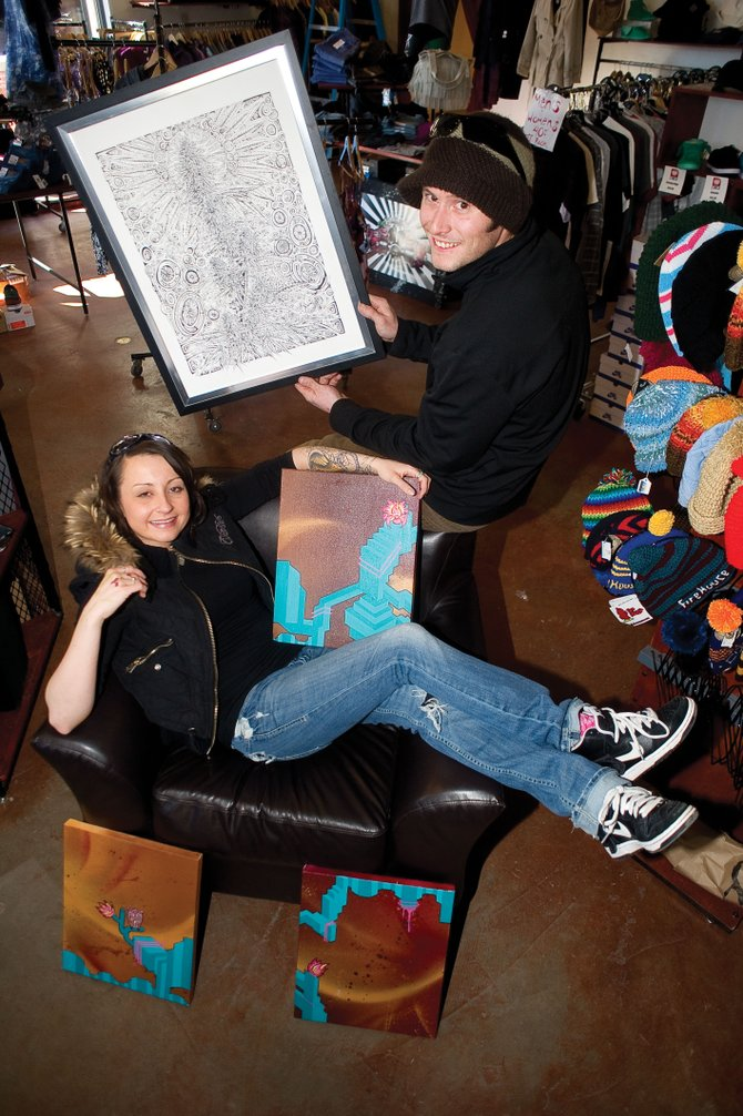 Local artists Ben Rock, right, and Elise Halpin will display their work at Urbane during First Friday Artwalk tonight and throughout February.