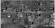 An aerial view of Craig, with gas prices noted for a gallon of unleaded gas. See text for names of the gas stations.