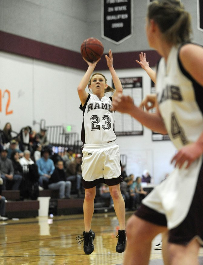 Soroco High School sophomore Micaela Meyer takes a shot during Saturday's game against West Grand. Soroco won, 53-37.