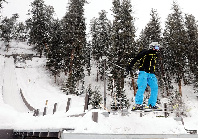 Michael Rogers flies off the K68 jump Friday at Howelsen Hill in Steamboat Springs. Rogers ski jumped for the first time Thursday and quickly progressed up from the smallest jumps at the complex.