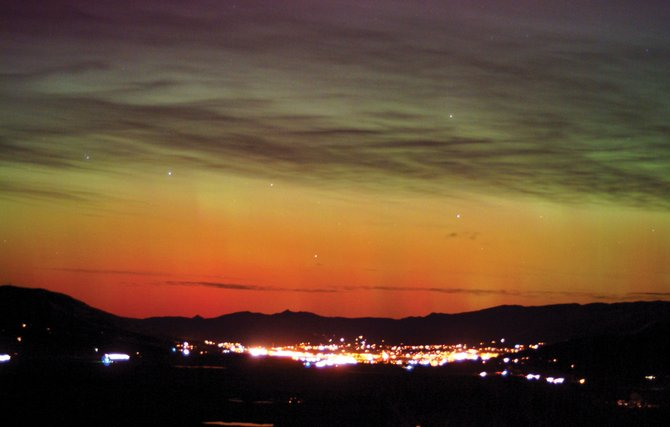 On Nov. 7, 2004, a vivid aurora broke out over Northwest Colorado and lasted through much of the night. The red and green northern lights danced over Steamboat Springs while the town slept. Although rare,auroral displays over Colorado can happen when the sun spews clouds of plasma toward the Earth during times of increased solar activity, as we seem to be entering now.