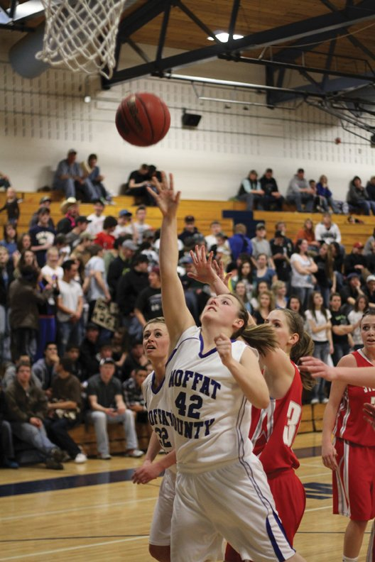 Annie Sadvar, a Moffat County High School junior, puts up a shot Friday against the Steamboat Springs Sailors. The MCHS girls varsity basketball team is ranked 17th in the 4A state basketball tournament and will play Erie High School in an opening round game Friday in Longmont.