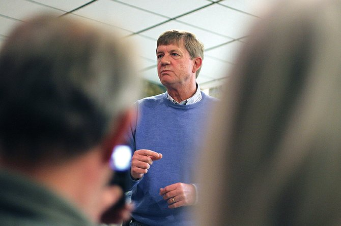 Congressman Scott Tipton, R-Cortez, speaks Tuesday to a room full of residents at Craig City Hall before the Craig City Council's regular meeting. The freshman representative spoke about the energy industry, the federal budget and various rules and regulations making the economy worse for tax payers.