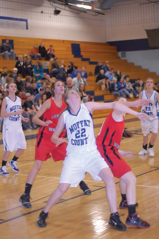 Kyleen Ellgen, a Moffat County High School sophomore, boxes out her opponent at MCHS earlier this season. The MCHS girls junior varsity basketball team finished the season 17-1, falling only to Soroco on Dec. 7.