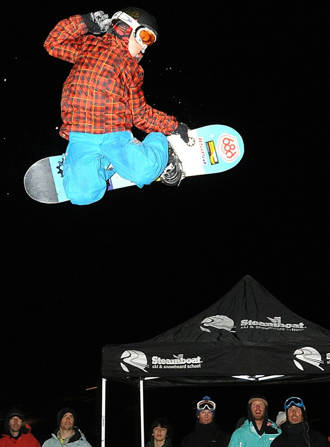Cody Winters pulls off a grab during Thursday's big air competition at Howelsen Hill in Steamboat Springs. Winters and his brother, Billy, both competed in the event, which organizers hope kicks off a long-running Town Challenge-style series of park competitions.