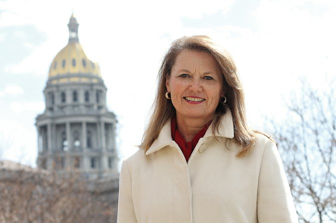 State Sen. Jean White, R-Hayden, stands outside of the state capitol building Thursday in Denver. White was appointed to serve the remaining two years of her husband Al's senate term. Al White served in the Colorado legislature for about 10 years before being appointed by Gov. John Hickenlooper to run the Colorado Tourism Office.