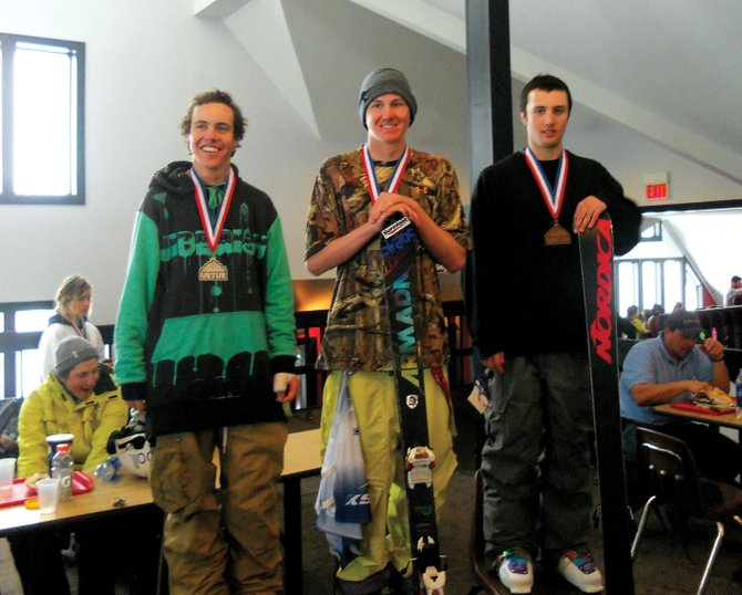 Penn Lukens, center, picked up a first- and second-place finish on Friday in a pair of skiing NorAm Grand Prix events in Killington, Vt. The finishes vaulted Lukens to a NorAm Grand Prix championship.