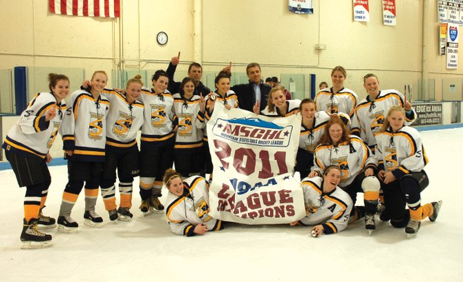 The Steamboat Springs U19 girls hockey team celebrates winning its second straight state title. The girls team went 28-3 this season and won the Mountain State Girls Hockey League tournament during the weekend by winning four one-goal games.