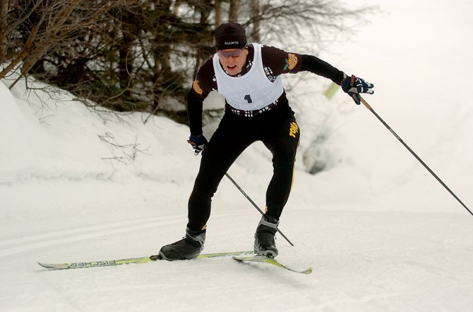 Barkley Robinson skates up Howelsen Hill on Saturday during the 20th annual Steamboat Pentathlon. Robinson was the top overall finisher on the standard course.
