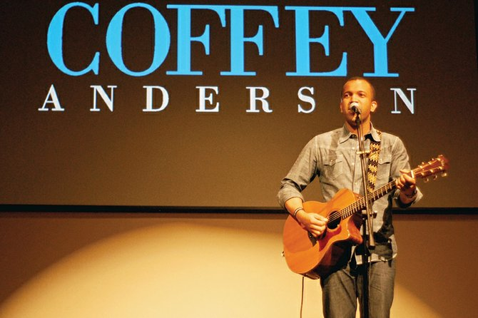 Musician Coffey Anderson sings from the stage Sunday evening at The Journey at First Baptist in Craig.