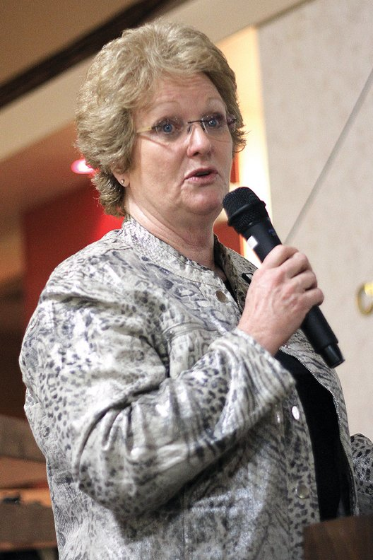 Moffat County Commissioner Audrey Danner delivers the State of the County address Wednesday night during the Craig Chamber of Commerce's State of the County 2011 event at the Holiday Inn of Craig. Danner's address focused on the county's budget, natural resources and planning for the future.