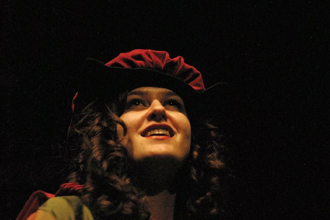 "MCHS senior Emmi Hall plays the character Townschick during a rehearsal of ""The Somewhat True Tale of Robin Hood"" on March 9 at the school auditorium."
