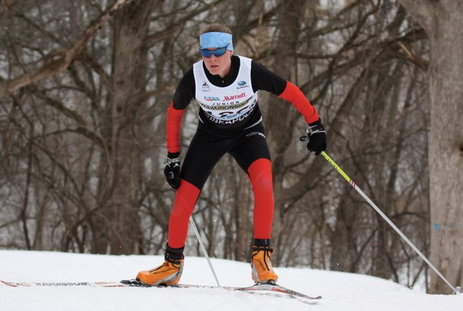 The Steamboat Springs Winter Sports Club's Mary O'Connell finishes a race at the 2011 cross-country Junior Nationals in Minneapolis. The championships wrapped up Saturday with a classic relay race, in which O'Connell's team placed second.