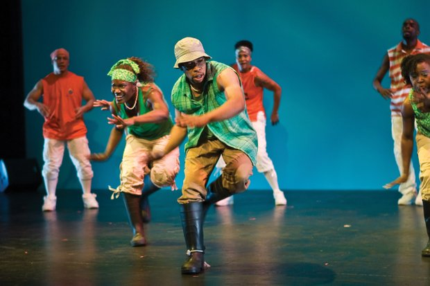 Members of the Washington, D.C.-based Step Afrika troupe perform stepping, ...