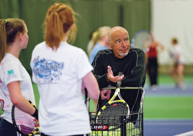 Steamboat Springs assistant coach Don Toy talks with players at the Sailors practice Thursday afternoon. Toy has battled polycystic kidney disease for the past seven years, and still is recovering after a kidney transplant in September. The Don O'Toy Fundraiser is from 2 to 5 p.m. Sunday at the Tennis Center at Steamboat Springs.