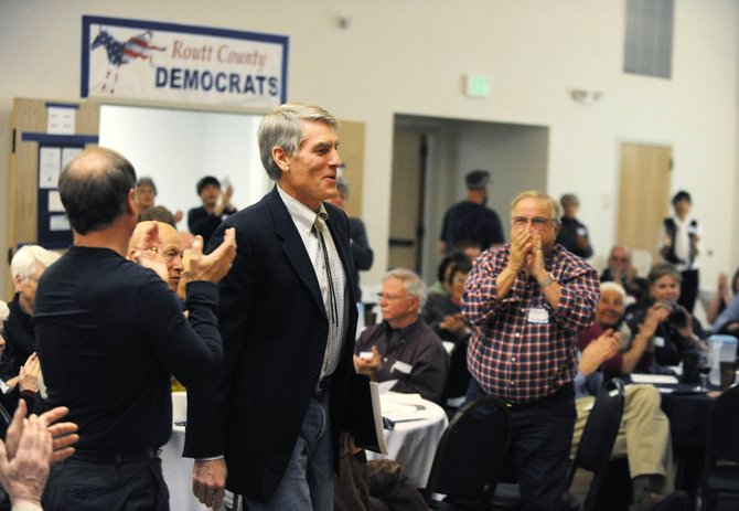 U.S. Sen. Mark Udall is introduced during the Routt County Democratic Partys annual Jefferson-Jackson Dinner on Saturday at Steamboat Springs Community Center.