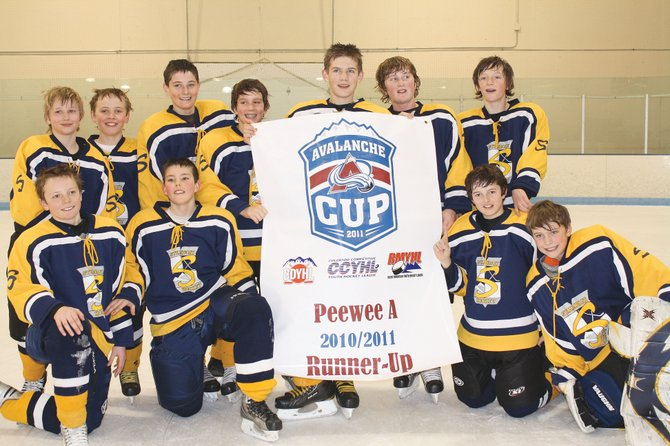 The Steamboat Springs Pee Wee A team finished second in last weekend at the state tournament. Players included, back row left, Jack McNamara, Sean Patten, Harry Wilson, Chris Kaminiski, Matthew Thielemann, Jordan Gorr,  Bryce Sullivan; and front row from left, Will Firestone, Joe Borgerding, Jack Coon and Max Vollmer.