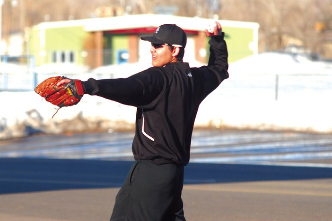 Gabe Maldonado, a Moffat County High School sophomore, practices March 11 at the field outside of Craig Middle School. The MCHS varsity baseball team has only three seniors and will look to younger players to push the team to the playoffs.