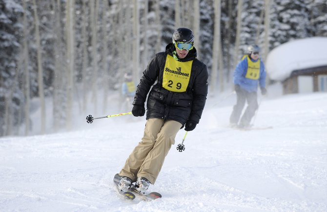 Steamboat Springs resident Andreas Sauerbrey skis during Saturday's Ski 4 Yellow event at the Steamboat Ski Area.