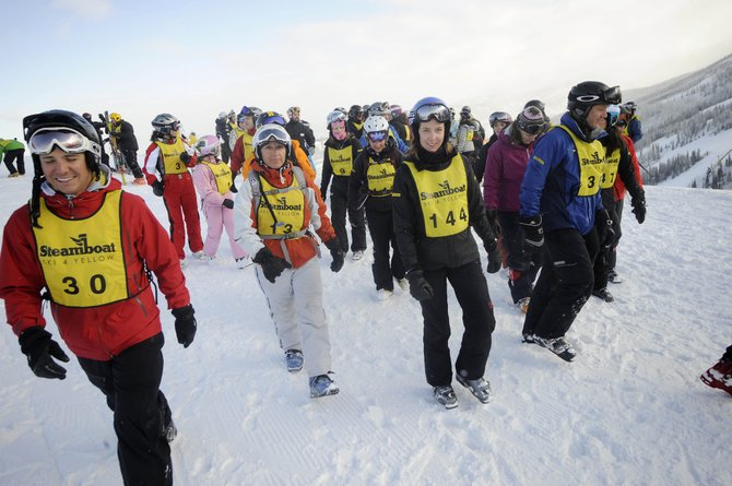 Participants get ready to start the challenges in the inaugural Ski 4 Yellow event in March 2011 at Steamboat Ski Area. Registration is open for this year's event at www.ski4yellow.com.