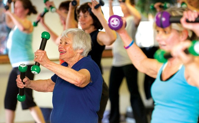 Gisele Miller, 77, keeps in shape by attending the Zumba Toning class at Old Town Hot Springs. Routt County was named the ninth healthiest county in Colorado in a recent study.