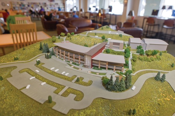 A three-dimensional model of the new Colorado Mountain College administrative and classroom building is on display at the library in Bristol Hall. The model also will be available for viewing at an open house tonight in the Willett Hall dining room.