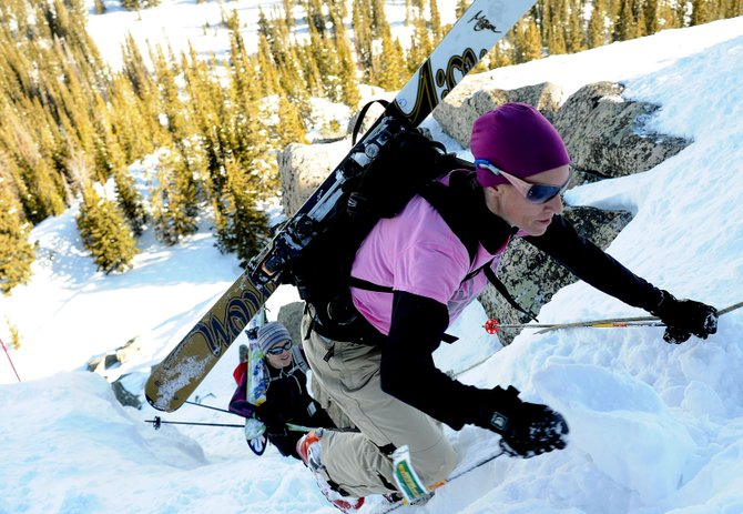 Becky Kuhl climbs during Saturday's Cody's Challenge at Steamboat Ski Area.