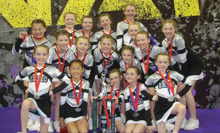 "The Steamboat Rocky Mountain Cheer ""junior"" team included back row from left, Mariah Walker, Heidi Marshall, Annie Martin, Kelsey Spognardi and Kady Look, middle row, Mi-Ri Frasier, Tia Kavanaugh, Sydney Graham, Aubrie Moothart, Karlee Brown, Kaylie Rankin and Peighton Moothart, and front row, Makenna Keyek, Piper Eivins, Jocelyn McParland, Cassidy Moore and Gwenyth McParland earned second place in Jamfest Nationals. Zoe Walsh also competed but is not pictured."